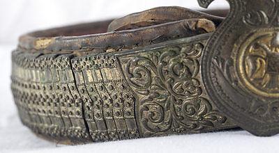 Amazing Silver & Gold Leather Ottoman Folk Belt Tile Buckle Antique Greek Balkan 11