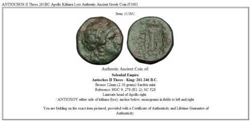 ANTIOCHOS II Theos 261BC Apollo Kithara Lyre Authentic Ancient Greek Coin i51861 3