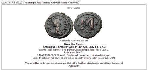ANASTASIUS 491AD Constantinople Follis Authentic Medieval Byzantine Coin i60660 3