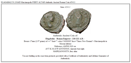 ELAGABALUS 218AD Marcianopolis FIERY ALTAR Authentic Ancient Roman Coin i45411 3