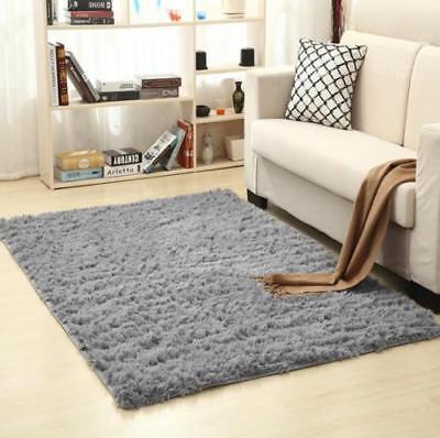 Large Shaggy Floor Rug Sienna Plain Soft Sparkle Area Mat 5cm Thick Pile Glitter 6