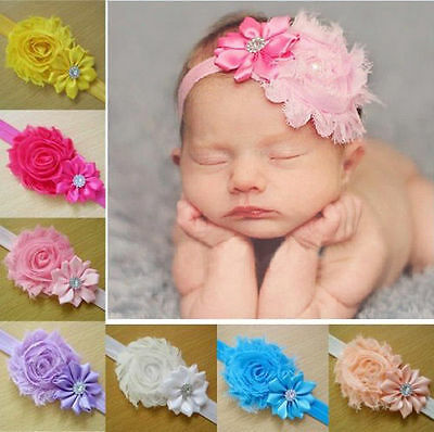 10PCS Girl Newborn Baby Toddler Infant Flower Headband Hair Bow Band Photo Props