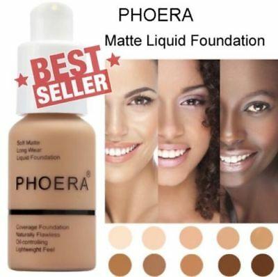 Phoera Perfect Beauty Face Liquid Foundation Base Soft Matte Long Wear Oil 4