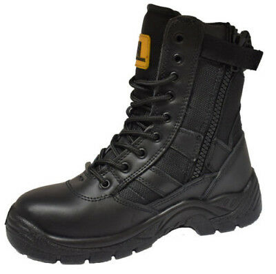Mens Leather Army Military Combat Shoes High Ankle Patrol Security Work Boots Sz