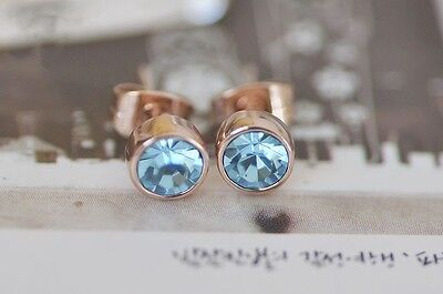 Stunning 18K Rose Gold GF 5MM SWAROVSKI Lab Diamond Stud Earrings Lovely Gift 10