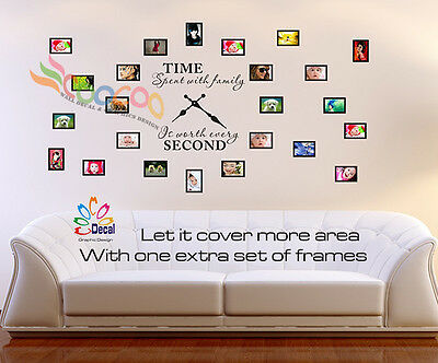 WALL DECAL STICKER Tree Removable Family Photo Frames Clock With ...