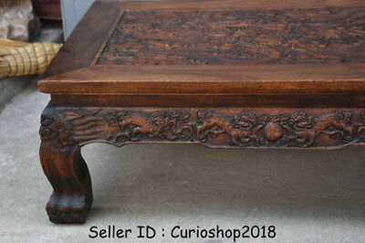"""26.2"""" Antique Old Chinese Huanghuali Wood Dynasty Dragon Tea Table Teapoy Desk 3"""