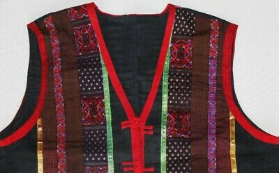 vintage tribal exotic chinese miao people's hand embroidery costume vest 2