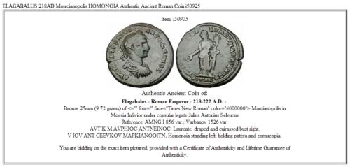 ELAGABALUS 218AD Masrcianopolis HOMONOIA Authentic Ancient Roman Coin i50925 3