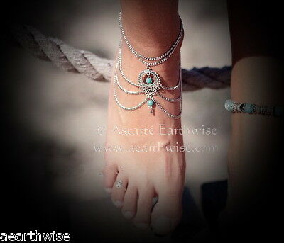 ANKLET:  WITH TURQUOISE SILVERTONE Wicca Witch Pagan Belly Dance Goth Hippie