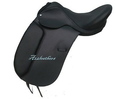Details about  /Brown Dressage Treeless Saddle with carving /& tooling in 9 size with accessories