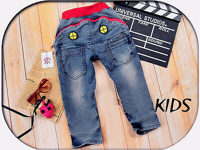 Toddler Kids Boys Shark Zipper Pocket Casual Denim Jeans Trousers Pants Clothing