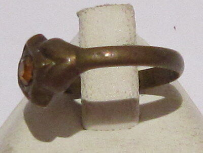 VINTAGE NICE BRONZE RING WITH YELLOW STONE FROM THE EARLY 20th CENTURY # 17B 4