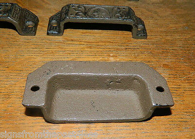 Set/8 Ornate Cast Iron Industrial Tool Seed Index File Bin Pull or Handles 4
