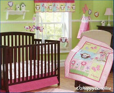 New Baby Girls 9 Pieces Cotton Nursery Bedding Crib Cot Sets-- Owl Tree Design