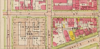 N.W TREASURY DEPARTMENT E ST TO H ST  ATLAS PLAT MAP U.S 1917 WASHINGTON D.C