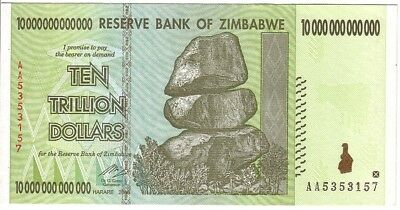 Zimbabwe 10 20 50 100 Trillion Dollars Set of 4 Banknotes UNC AA+ 2008 (Zim4) 5