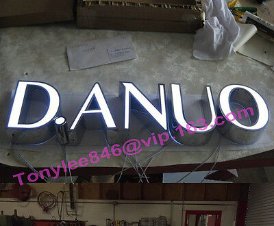 Outdoor shop sign with backlit, made by stainless steel, 18-inch tall 4