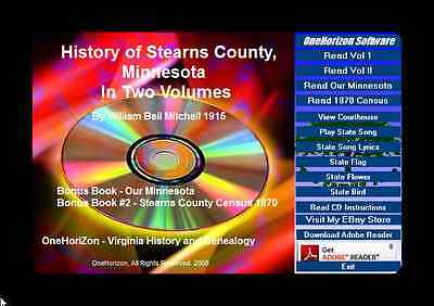 STEARNS COUNTY MINNESOTA History, In Two Volumes + Bonus Book