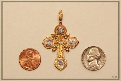 Russian Orthodox Silver Gold Cross Pendant Medallon Icon Jesus Christ (T114) 5
