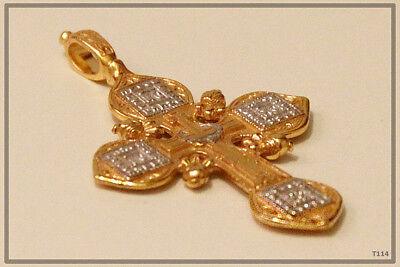 Russian Orthodox Silver Gold Cross Pendant Medallon Icon Jesus Christ (T114) 3