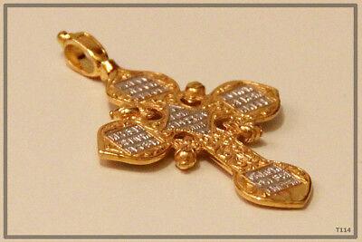 Russian Orthodox Silver Gold Cross Pendant Medallon Icon Jesus Christ (T114) 4