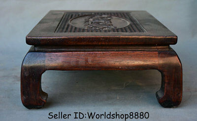 "15.8"" Antique Chinese Dynasty Palace Huanghuali Wood Carved Lion Dog Table Desk 8"
