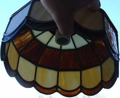 Vintage Stained Leaded Slag Glass PARLOR Lamp Amber & Opal Color Tiffany Style 9