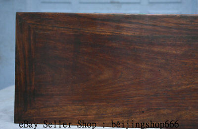 "14"" Old Chinese Huanghuali Wood Hand Carved Natural Lines Table Desk Furniture 6"