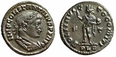 """Constantine I The Great AE Follis """"SOLI INVICTO COMITI Sol"""" Lugdunum 309-310 EF 3"""