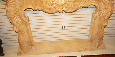 Massive French Carved Italian Marble Fireplace Mantel Mantle Surround 1940s WOW! 8