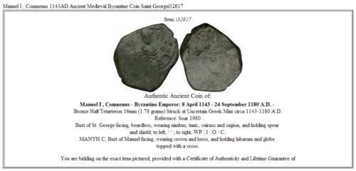 Manuel I , Comnenus 1143AD Ancient Medieval Byzantine Coin Saint Georgei32617 3