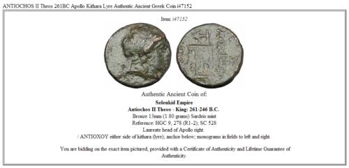 ANTIOCHOS II Theos 261BC Apollo Kithara Lyre Authentic Ancient Greek Coin i47152 3