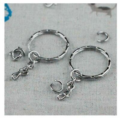 100Pcs Silver Keyring Blanks Tone Key Chains Key Split Rings With 4 Link Chain 3