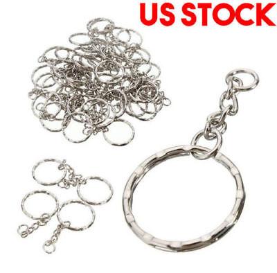 200Pc DIY 25mm Polished Silver Keyring Keychain Split Ring Short Chain Key Rings 2