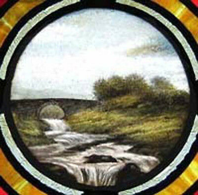 Antique Stained Glass Window RARE PAINTED MASTERPIECE 2