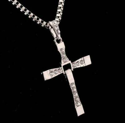 Cross Pendant Necklace Silver Stainless Steel Unisex's Chain Crucifix Men Women 6