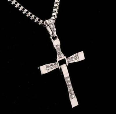Cross Pendant Necklace Silver Stainless Steel Unisex's Chain Crucifix Men Women 11