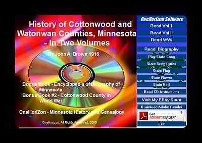 COTTONWOOD AND WATONWAN Counties, Minnesota History, In 2 Volumes + Bonus  Book