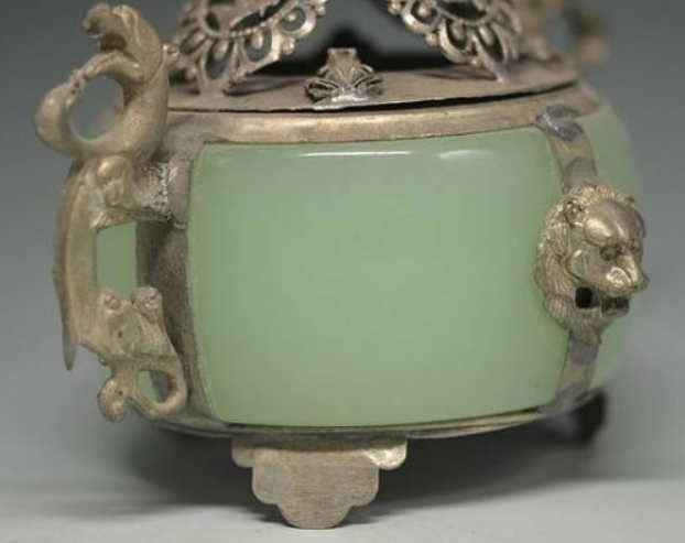 Unique Chinese Silver Copper Inlaid Jade Dragon Lion Incense Burner 4