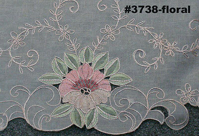 """Embroidered Peach Floral Sheer Tablecloth 70x104"""" & 12 Napkins BEIGE #3738E 3"""