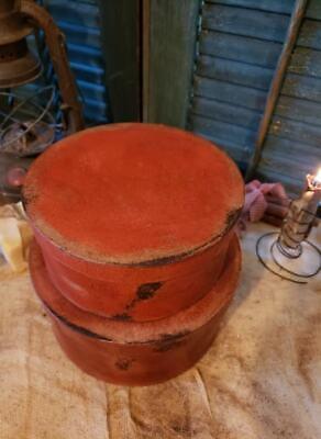 Medium Set of Two Primitive Round Grubby Reds Pantry Boxes Folk Art Decor 4