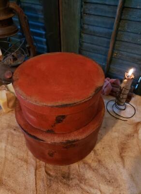 Medium Set of Two Primitive Round Grubby Reds Pantry Boxes Folk Art Decor 7