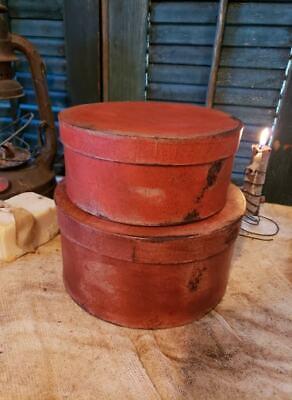 Medium Set of Two Primitive Round Grubby Reds Pantry Boxes Folk Art Decor 11