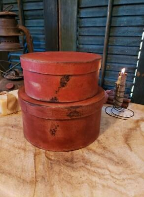 Medium Set of Two Primitive Round Grubby Reds Pantry Boxes Folk Art Decor 3
