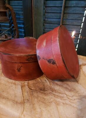Medium Set of Two Primitive Round Grubby Reds Pantry Boxes Folk Art Decor 8
