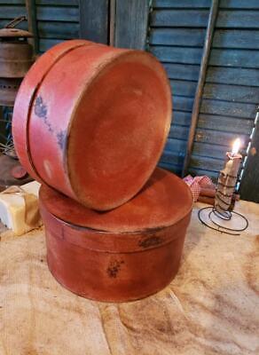Medium Set of Two Primitive Round Grubby Reds Pantry Boxes Folk Art Decor 6