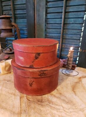 Medium Set of Two Primitive Round Grubby Reds Pantry Boxes Folk Art Decor 10