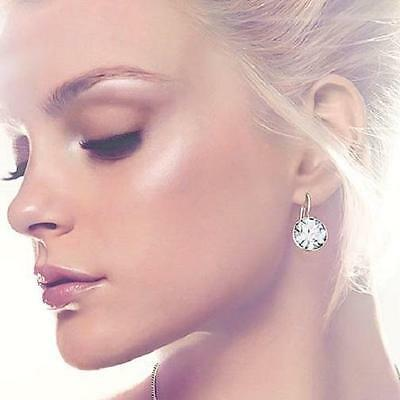 1 Of 12free Shipping Round Bella Earrings Clear Genuine Swarovski Crystal Gold Plated Bezel Lever New