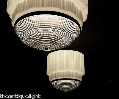 272 Vintage aRT DEco 30's Ceiling Light Lamp Fixture Glass {JUMBO SIZE}  1 of 7